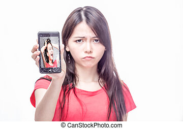 Chinese woman cracked cell phone - Upset Chinese woman, OOF,...