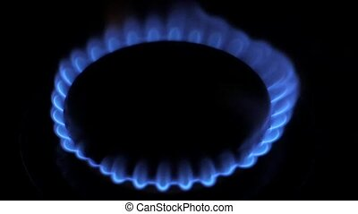 Blue Natural Gas Flames. Slow Motion. - Blue Natural Gas...