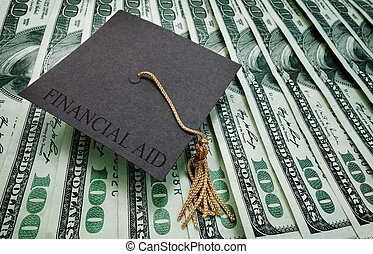 Financial Aid money - graduation cap with Financial Aid text...