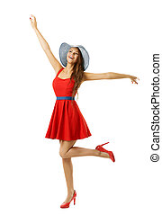 Woman in Red Dress Beach Hat Happy Going with Open Arms,...