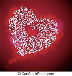 Valaentines Day flourish heart Poster card vector template