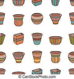 Seamless pattern with clay flower pots. Rows of ceramic...