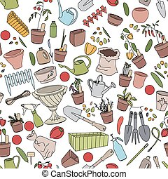 Seamless pattern with gardening tools, flower pots and...