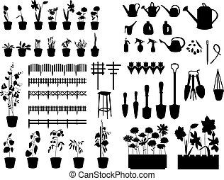 Black silhouettes of gardening tools, plants, flowers isolated on white