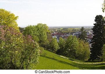 Baden - View to Baden town landscape. Austria. Europe.