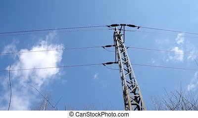 Electricity poles and blue sky