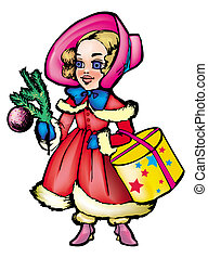 Christmas carol - Cartoon likable girl in winter clothes...