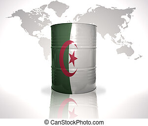 barrel with algerian flag on the world map background