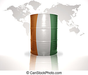 barrel with cote divoire flag on the world map background