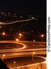 night road junction and embankment - night city with road...