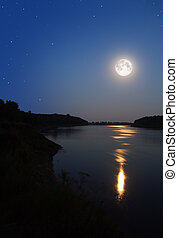 moonbeam in river - night moon and moonbeam in river