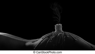 Body scape of woman with smoking candle and on her buttock artistic conversion