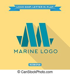 Abstract logo ship in the form of letter M, vector illustration icon