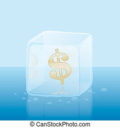 Frozen Credit Capital Dollar Ice Cu - Dollar symbol inside...