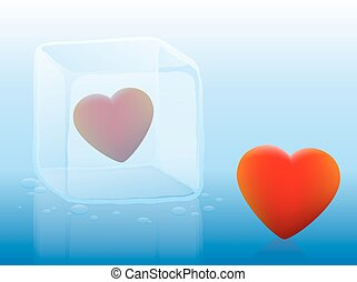 Cold Heart Ice Cube - Cold heart inside an ice cube and warm...
