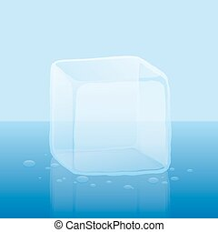 Ice Cube Single - Single ice cube or block of ice -...