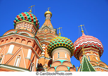 Domes of St Basil cathedral in Moscow, Russia