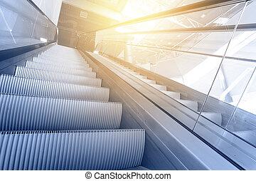 Escalator - Modern interior with escalator close-up