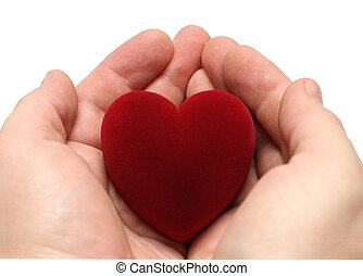 man\'s hands with heart