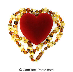 box heart and amber necklace