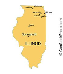 yellow map of Illinois with indication of largest cities -...