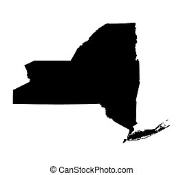 black map of New York