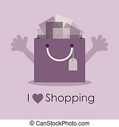 I love shopping - Cute smiley bag - I love shopping, cute...