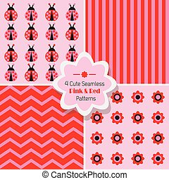 Cute Pink & Red seamless patterns