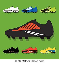 Colorful soccer shoes icons set