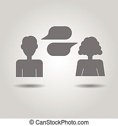 Man and woman socializing icons