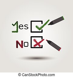 Yes and No with check boxes icons
