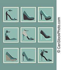 Blue stylish women shoes icons set - Unique blue stylish...
