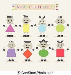 cute shape characters on off white - Shaped body buddies -...