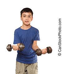 niño,  Dumbbells, ejercicio