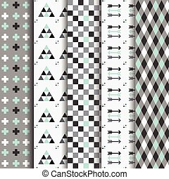 Geometrical Aztec seamless Pattern set