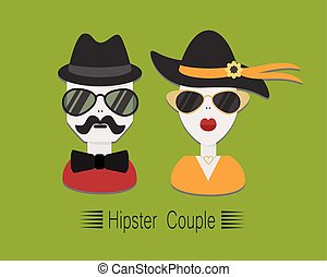 Hipster couple with glasses and hats on green background