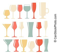 Set of Black Alcoholic Glass Silhouette Vector Illustration EPS1