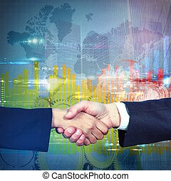 International business agreement - Handshake symbol of an...