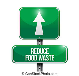 reduce food waste road sign concept illustration design over...