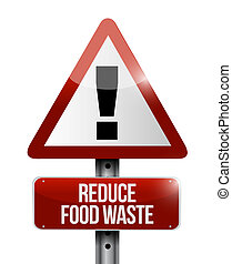reduce food waste warning road sign concept illustration...