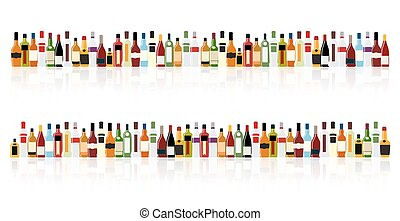 Vector Illustration of Silhouette Alcohol Bottle EPS10