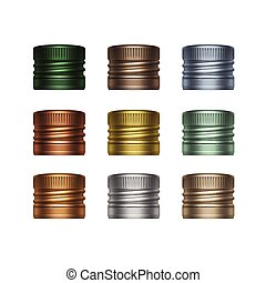 Vector Set of Multicolored Screw Bottle Caps - Vector Set of...