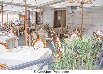 Italian restaurant exterior - The exterior part of an...