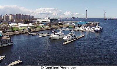 Flying Above Yachts at a Marina