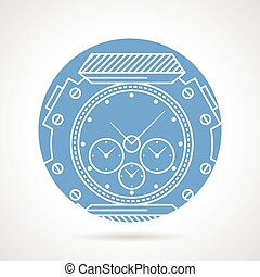 Sports wrist watch vector icon - Blue round vector icon with...