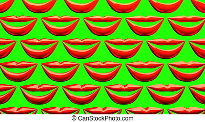 Many Red Kissing Lips On Green Background. 3D render...