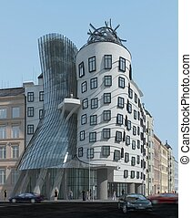 City Building Exterior - Three-dimensional visualization of...