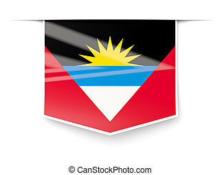 Square label with flag of antigua and barbuda isolated on...