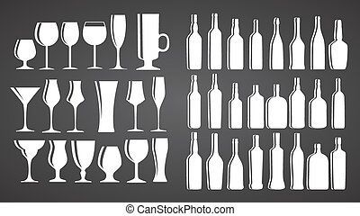 Vector Illustration of Silhouette Alcohol Glass and Bottle