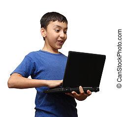 sorpresa, computador portatil, niño